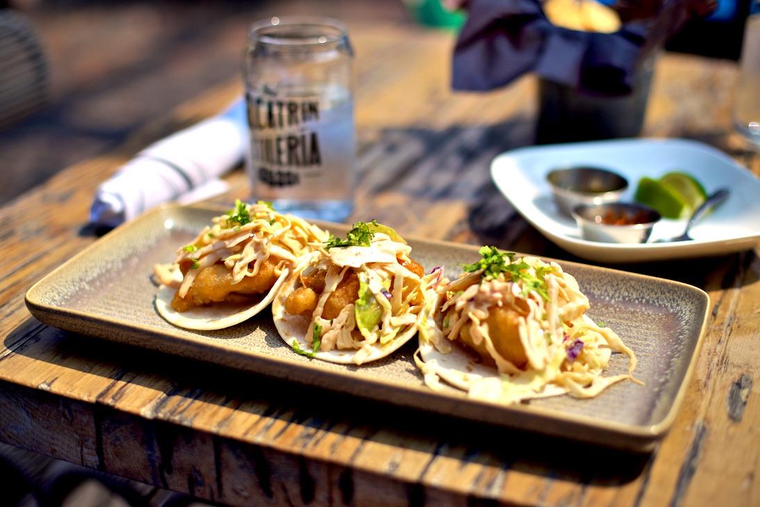 Tacos on the patio at El Catrin.