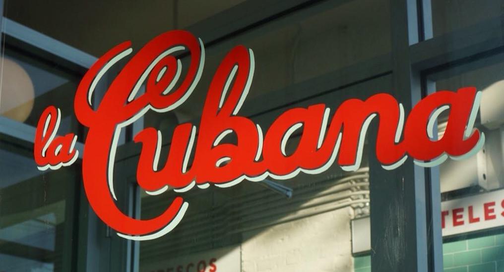 Signage of La Cubana restaurant.