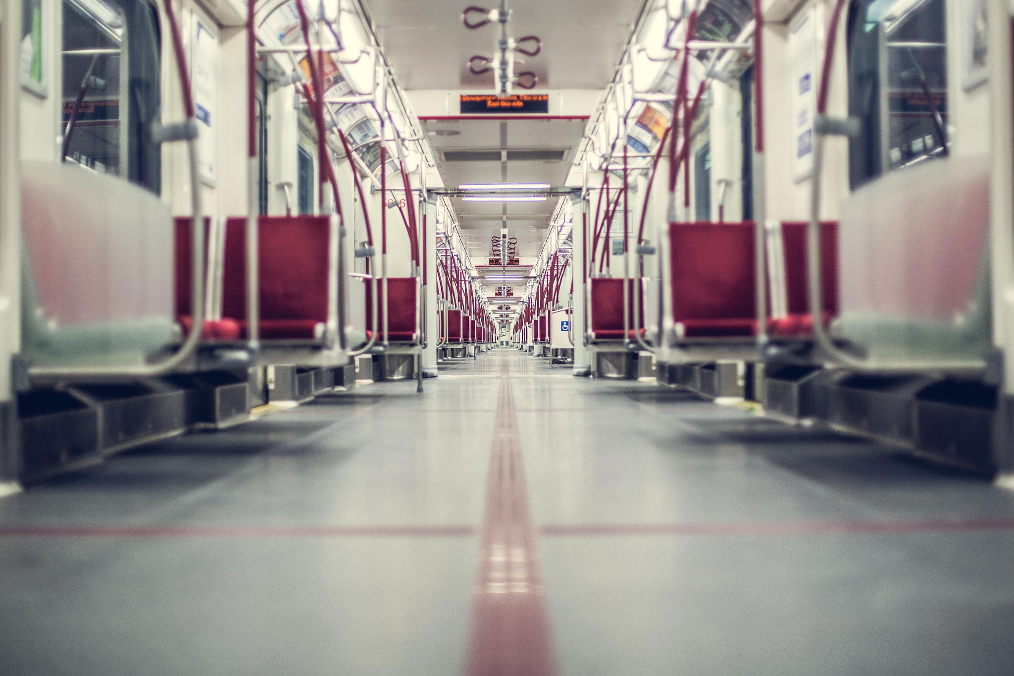 Empty Toronto subway car.
